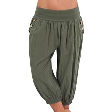 Wenyujh  Femmes 3 4 Pantalon Bouffant Sarouel Aladin Harem Pantalon Court  Yoga Jambe Large avec Poches Bouton Décoration  Amazon.fr  Vêtements et ... 439f7034bcd0