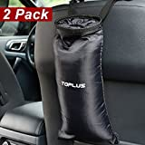 Toplus Car Trash Bags, Car Garbage Can Container Washable Leakproof Eco-friendly Seatback Truck Hanging Car Garbage Bags for Travelling, Outdoor, Home and Vehicle Use - Black, 2 Pack