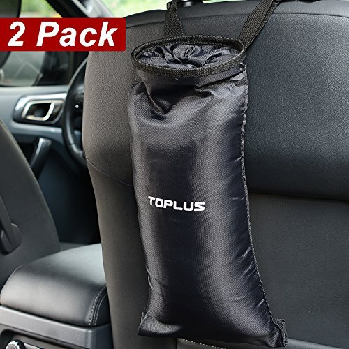 Toplus Car Trash Bags, Car Garbage Can Container Washable Leakproof Eco-friendly Seatback Truck Hanging Car Garbage Bags for Travelling, Outdoor, Home and Vehicle Use – Black, 2 Pack