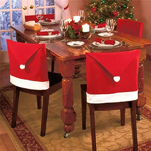 Alisena Santa Hat Chair Covers,Santa Clause Red Hat Chair Back Covers Kitchen Chair Covers Christmas Holiday Festive Decor