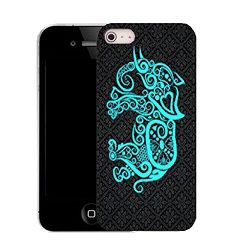Mobile Case Mate IPhone 4 clip on Silicone Coque couverture case cover Pare-chocs + STYLET - aqua elephant pattern (SILICON)