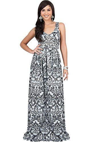 KOH KOH Womens Long Sleeveless V-Neck Summer Flowy Cute Cocktail Gown Maxi Dress