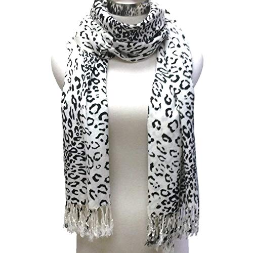 Premium Fashion Animal Print Leopard Shawl Scarf Wrap - Fringed Leopard Black & White