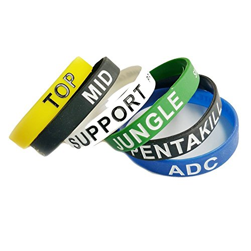 NewSilkRoad League of Legends Top Jungle Adc Mid Support Silicone Bracelet Wristband (6PCS) (Best Top League Of Legends)
