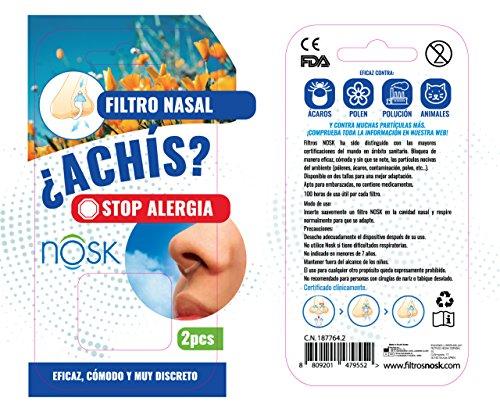 Nosk - Filtro Nasal 2 Unidades TALLA PEQUEÑA - Bloquea al instante los sintomas de la alergia, el asma y la contaminacion