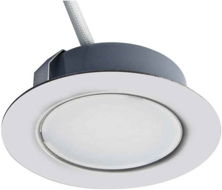 Trango Juego de 1 - 12V AC / DC Foco empotrable para muebles LED, empotrado, luz de techo TGG4E-018 en cromo para reemplazar luces de muebles convencionales G4 luces de campana de cocina, etc.