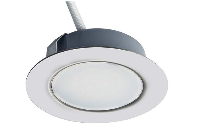 Trango Juego de 1 - 12V AC / DC Foco empotrable para muebles LED, empotrado, luz de techo TGG4E-018 en cromo para reemplazar luces de muebles ...