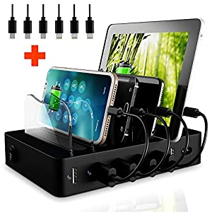 FAST Charging Dock - LED 6 USB Charging Station - NO BUZZ Smart Sleep Friendly iPhone Charging Stand - Short Cables - Safe iPad Cell Phone Charging Port - Universal Docking Station Organizer Hub Black