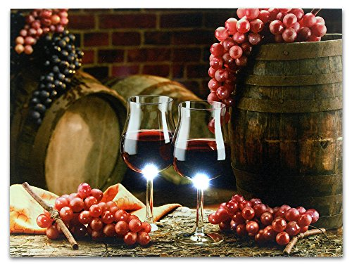 Wine Canvas Art - Wall Art with LED Lights - Canvas Print - 2 Wine Glasses with Grapes and Barrels Picture - Glass Grapes on Barrel - 12x16 Inch (Wine Art Wall Decor Led Lights compare prices)