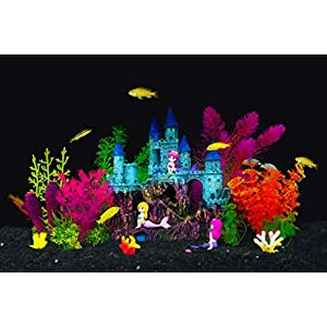 Aquarium Fish Tank Decorations Theme Set Plastic Plants Fish Cave – Aquarium Castle Mermaid Ornaments,Pirate Ship,Egypt…