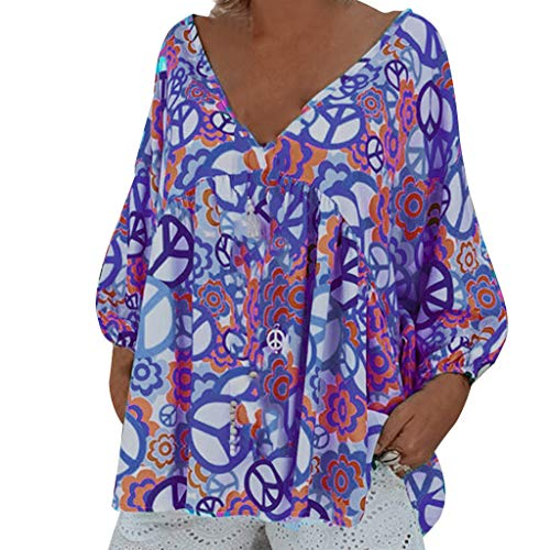 (Women's Floral Printed Long Sve Henley V Neck Pleated Casual Flare Tunic Blouse Shirt Sexy Loose Top Tee Purple)