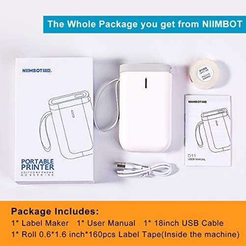 Label Maker Machine NiiMbot D11 2020 Portable Wireless Connection Label Printer Tape Included Multiple Templates Available for Smartphone Tablet Easy to Use Office Home Organization USB Rechargeable