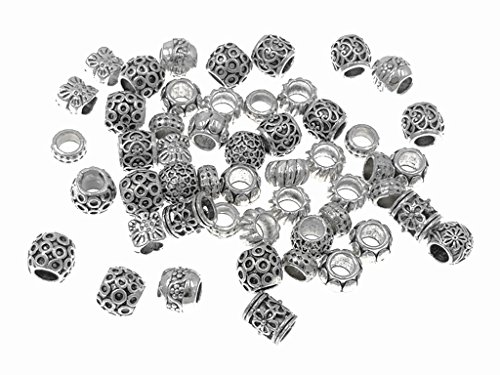 Kinteshun Bracelet Beads Alloy Multistyle Spacer Charm for DIY Jewelry Making Accessaries(Tibetan Silver Tone,100 Gram/About 60pcs) ()