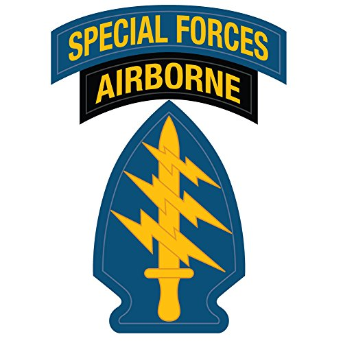 US Army - Special Forces Airborne Patch Reflective Decal - 3.5 Inch Tall Full Color Decal On 3M Reflective Material, (Special Forces Decal)