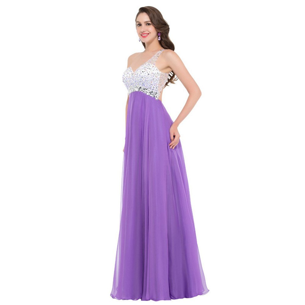 Amazon.com: HUAN Womens New One Shoulder Court Train/Floor Length/Chiffon Formal Evening Dress/Party Prom Dress With Rhinestone (Color : Purple, ...