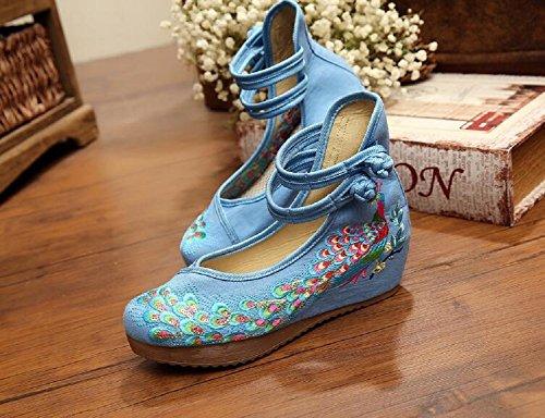 Lazutom - Sandalias de vestir de Lona para mujer Azul