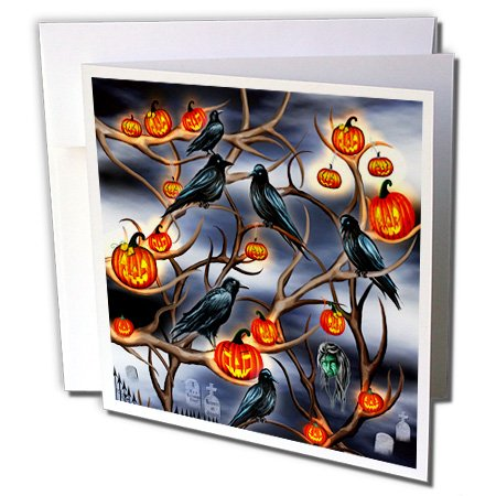 Dream Essence Designs-Holidays Halloween - Mysterious Crows and Jack-o-Lanterns in tree branches on Halloween - 6 Greeting Cards with envelopes (gc_244059_1)