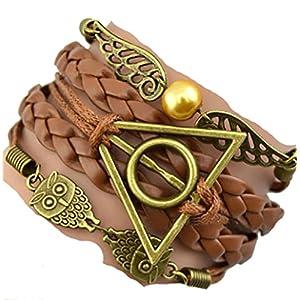 Peace River Designs Vintage Bracelet Golden Snitch Deathly Hallows Owls Brown Leather Braid Rope Bangle Gift Bracelet
