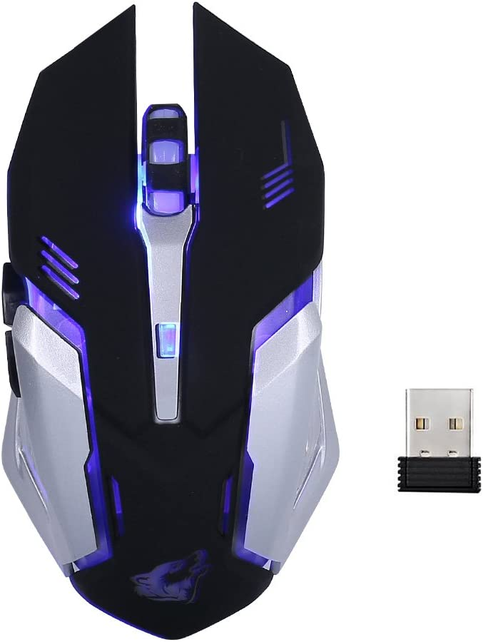 Lanker Wireless Rechargeable Gaming Mouse - USB Optical Mice with Silence Click, 3 Adjustable DPI, 6 Buttons, 7 Changing Breathing Backlight - GM07 Black