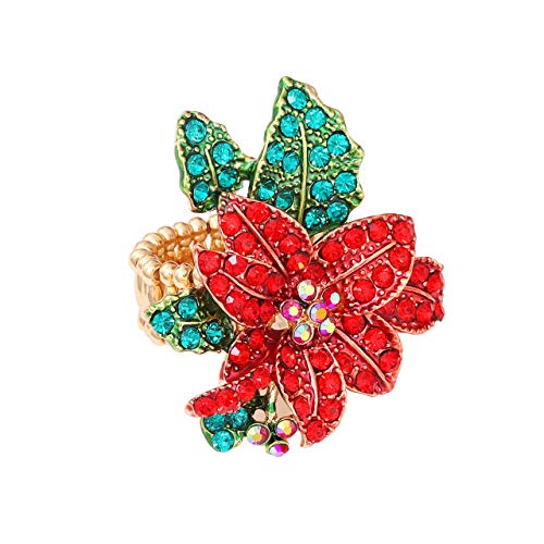 JYJ Christmas Ring for Women,Statement Crystal Christmas Jewelry for Women Xmas Poinsettia Flower Santa Tree Finger Ring Thanksgiving Party Accessories Gift (Christmas Flower, 7) -
