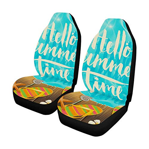 - INTERESTPRINT Hello Summer Time Tropical Flowers Frangipani, Starfish and Flip Flops Universal Front Seat Covers Protectors for Car, Truck & SUV