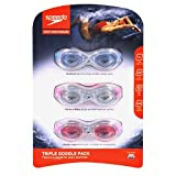 Speedo Triple Swimming Goggle Pack Adult Ages 15+ (Blue, Clear, and Pink)