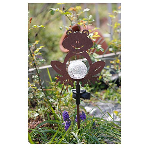 Wrought Iron Frog Plug-in Solar Light Garden Lighting Decoration Gardening Decoration,Yard Lawn Ornaments ,Outdoor Art Decorations ()