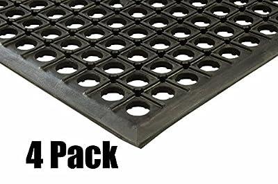 "Quantity (4) 2x3 Black Drainage Rubber Floor Mat Heavy Duty Anti Fatigue Anti-slip 24"" x 36"" x 1/2"" Thick by ETD"