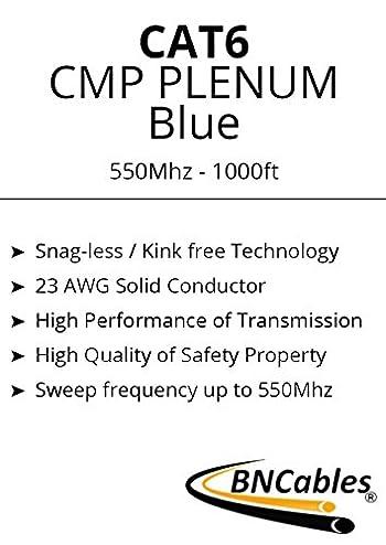 550MHZ CAT6 BLUE PLENUM CABLE 1000ft Bulk