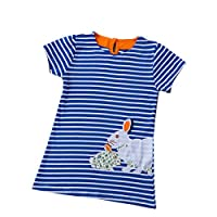 Janeyer Toddler Children Girls Lolita Cotton Rabbit Stripped Shirt Dress (Blue) 100cm / US 1Y-2Y