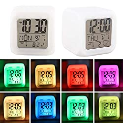 Colorful Smart Alarm Clock,Digital Clock,Night Glowing Cube Snooze and Date Display with Temperature, LED Silent Non-Ticking Battery Operated Decor Clock for Teens Girls Boy's Bedroom