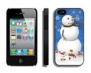 Iphone 4S Case,Snowflake Snowman Silicone Black Case For Apple Iphone 4/Iphone 4s Cover Case