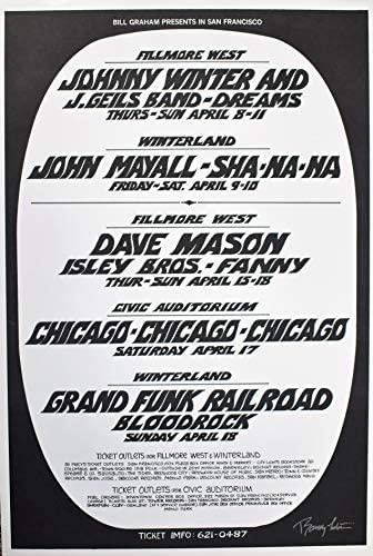 Bill Graham Presents Concert Poster 1971 JOHNNY WINTER CHICAGO GRAND FUNK RAILROAD Signed Randy Tuten / Bill Graham Presents Concert Poster 1971 JOHNNY WINTER CHICAGO GRAND FUNK RAILROAD Signed Randy Tuten