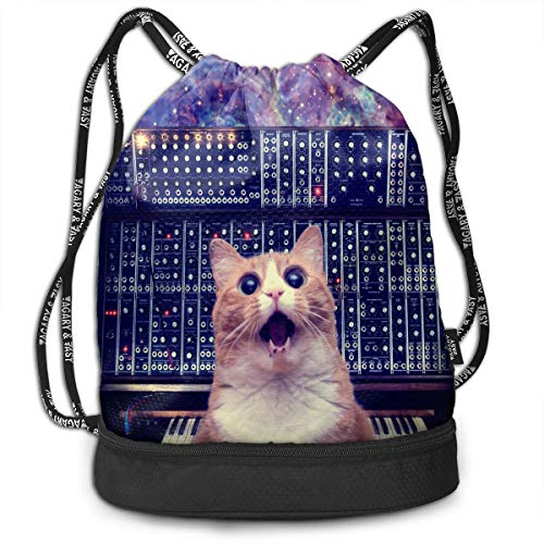 Drawstring Backpack Bundle Cats On Synthesizers In Space Cinch Bags Sack Bulk Bag String ()