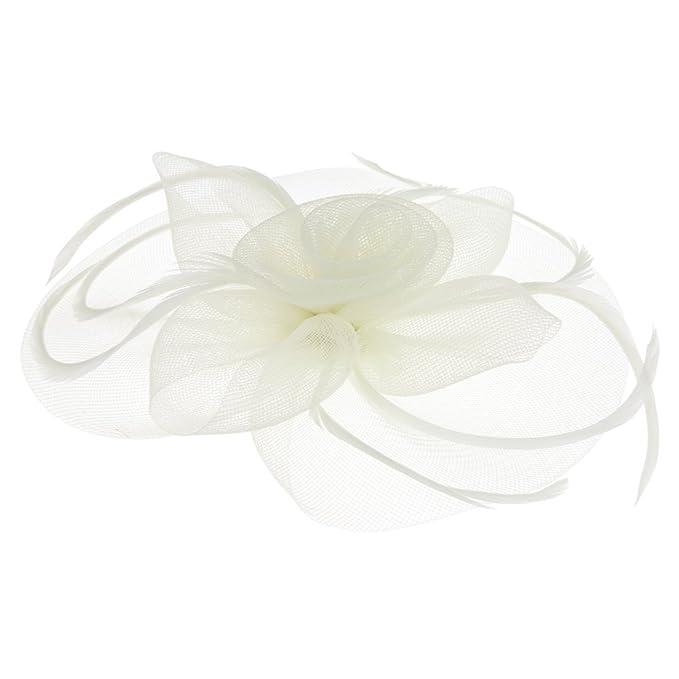 Jiahg Braut Fascinator Blumen Netz Kopfschmuck Damen Haar Clip Hut