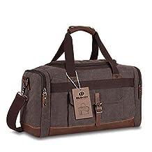 Overnight canvas duffel bag leather travel bag unisex gym bag (Coffee)