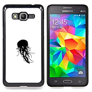 "Qstar Arte & diseño plástico duro Fundas Cover Cubre Hard Case Cover para Samsung Galaxy Grand Prime G530H / DS (Jelly Fish B & W"")"