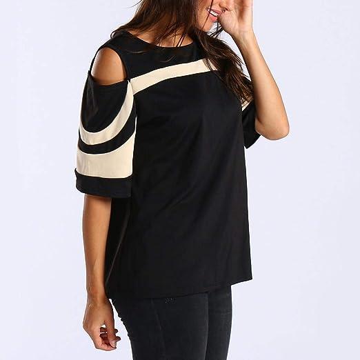 Bestow Off Shoulder Colorblock Mujeres Camiseta de Manga Corta FRšªa Pullover Tops Camisa de la Blusa: Amazon.es: Ropa y accesorios