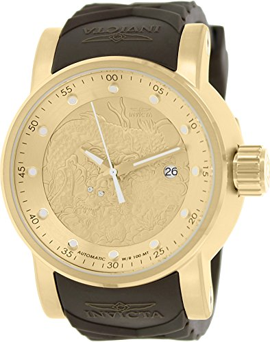 Mens  S1 Rally Yakuza Automatic Goldtone and Brown Rubber Watch - Invicta 12790