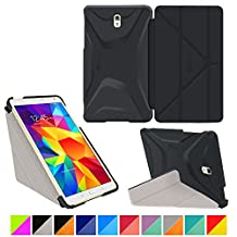 """roocase Samsung Galaxy Tab S 4 8.4 Case - Origami 3D [Granite Black / Cool Gray] Slim Shell 8.4-Inch 8.4"""" Smart Cover with Landscape, Portrait, Typing Stand"""
