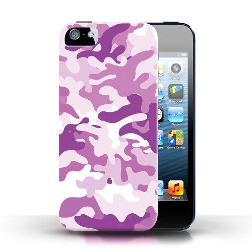 iCHOOSE Print Motif Coque de protection Case / Plastique manchon de telephone Coque pour Apple iPhone 5/5S / Collection Armée/Marine militaire/Camouflage / Rose 1