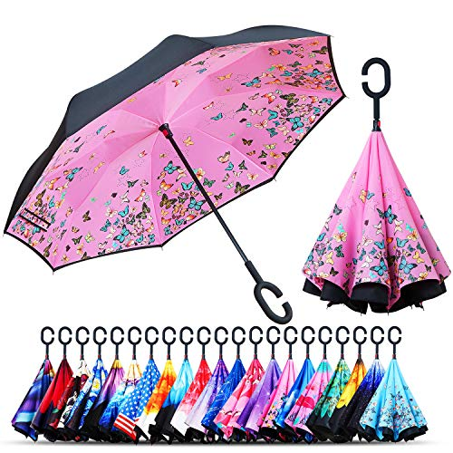Elephant Golf - Owen Kyne Windproof Double Layer Folding Inverted Umbrella, Self Stand Upside-Down Rain Protection Car Reverse Umbrellas with C-Shaped Handle (Pink Butterfly)