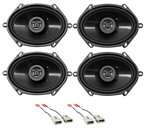Front+Rear Hifonics Speaker Replacement Kit for 1989-1997 Ford ()
