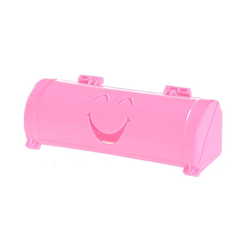 OUNONA Dispensador de bolsas de basura Dispensador Montado en la pared Bolsa de basura Organizador Caja de almacenamiento con cara de sonrisa Rosa