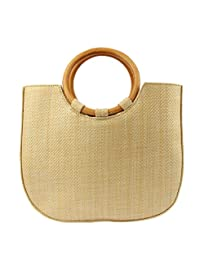 MICOM Simple Summer Straw Braid Tote Bags with Circular Wooden Handles for  Women 402f71b0c0ff1