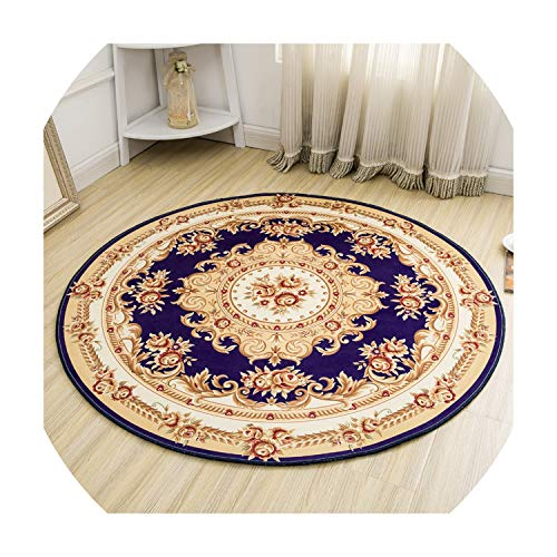 (Computer Chair Floor Mat Living Room Round Carpet Non-Slip Mat Bedroom Bedside Rugs Absorbent Coffee Table Rug,Blue,Diameter)