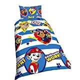 Nickelodeon Childrens/Kids Paw Patrol Pawsome Work Reversible Quilt/Duvet Cover Bedding Set (Single Bed) (Blue/White)