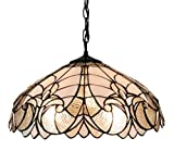 Amora Lighting AM206HL18 White Mahogany 18-inch Floral Tiffany-Style Hanging Lamp - 18