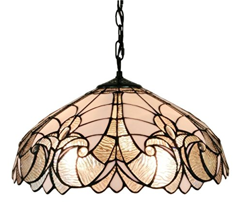 (Amora Lighting AM206HL18 White/Mahogany 18-inch Floral Tiffany-Style Hanging Lamp, 18