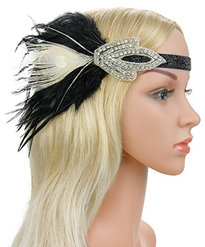 Roaring 20s Flapper Headband Great Gatsby Feather Headpiece